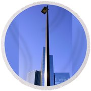 Building And Lamp Round Beach Towel