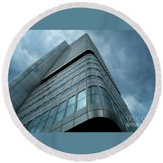 Building And Sky Round Beach Towel