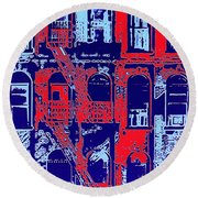 Building Facade In Blue And Red Round Beach Towel