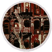 Building Facade In Brown And Red Round Beach Towel