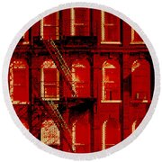 Building Facade In Red And White Round Beach Towel