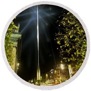 Buildings Lit Up At Night, Oconnell Round Beach Towel