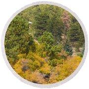 Bull Elk Lake Crusing With Autumn Colors Round Beach Towel