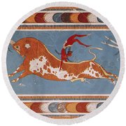 Bull-leaping Fresco From Minoan Culture Round Beach Towel