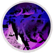 Bull On The Move Round Beach Towel