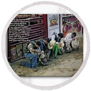 Bull Riders Prayer - With Prayer Text Round Beach Towel