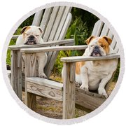 Bulldogs Relaxing At The Beach Round Beach Towel