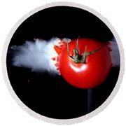 Bullet Hitting A Tomato Round Beach Towel