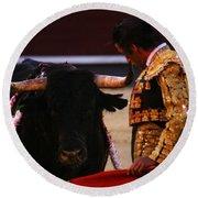 Bullfight Madrid Round Beach Towel