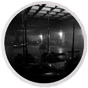Bumper Cars In Fog Round Beach Towel