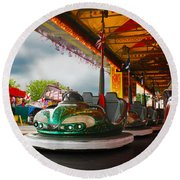 Bumper Cars Round Beach Towel