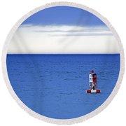 Buoy Off Bass Harbor Head Round Beach Towel