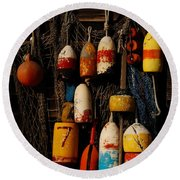 Buoys On Fishing Shack - Greeting Card Round Beach Towel