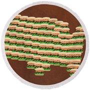 Burger Town Usa Map Brown Round Beach Towel