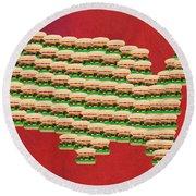 Burger Town Usa Map Red Round Beach Towel