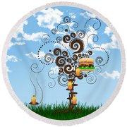 Burger Tree House And The Cupcake Kids  Round Beach Towel