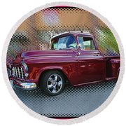 Burgundy Hot Rod Pick Up Abstract Round Beach Towel