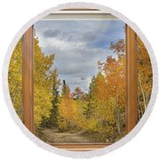 Burning Autumn Aspens Back Country Colorado Window View Round Beach Towel