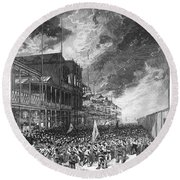 Burning Of Colon, 1885 Round Beach Towel