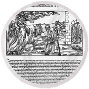 Burning Of Witches, 1555 Round Beach Towel