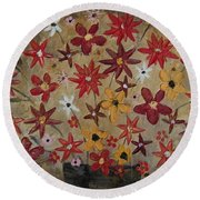 Burst Of Flowers Yellow And Red Round Beach Towel