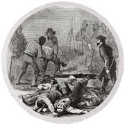 Burying The Dead After John Browns Round Beach Towel