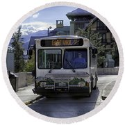 Bus To East Vail - Colorado Round Beach Towel
