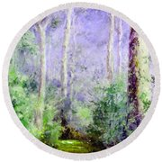 Bush Trail At The Afternoon Round Beach Towel