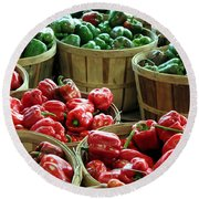 Bushels Of Green And Red Round Beach Towel