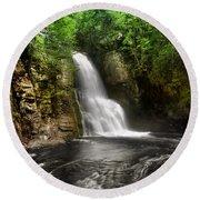 Bushkill Waterfalls Round Beach Towel