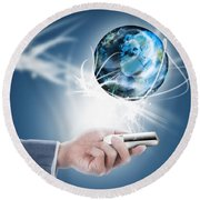 Businessman Holding Mobile Phone With Globe Round Beach Towel