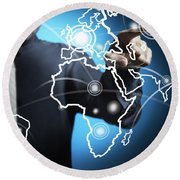 Businessman Touching World Map Screen Round Beach Towel by Setsiri Silapasuwanchai