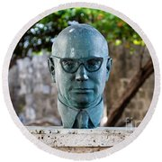Bust Of Carlos Lleras Restrepo In Cartagena De Indias Colombia Round Beach Towel