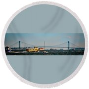 Busy Waters Round Beach Towel
