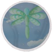 Busy Wings Round Beach Towel