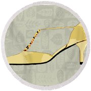 Butter Yellow Leather T Strap Heel Round Beach Towel