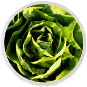 Buttercrunch Lettuce From Above Round Beach Towel