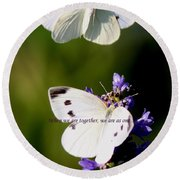 Butterfly - Cabbage White - As One Round Beach Towel