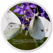 Butterfly - Dueteronomy 31 6 Round Beach Towel