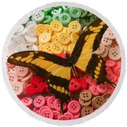 Butterfly And Buttons Round Beach Towel