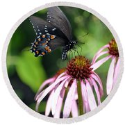 Butterfly And Coine Flower Round Beach Towel