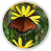 Butterfly And Yellow Flowers Round Beach Towel