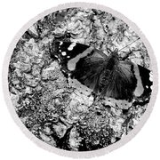 Butterfly Bark Black And White Round Beach Towel