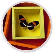 Butterfly In Box Round Beach Towel