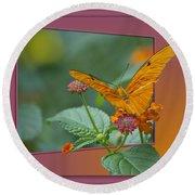Butterfly Orange 16 By 20 Round Beach Towel