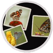 Butterfly Picture Page Collage Round Beach Towel