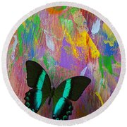 Butterfly Wall Round Beach Towel