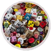 Buttons And Dice Round Beach Towel