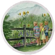By The Garden Fence  Round Beach Towel