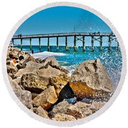 By The Pier Round Beach Towel by Betsy Knapp